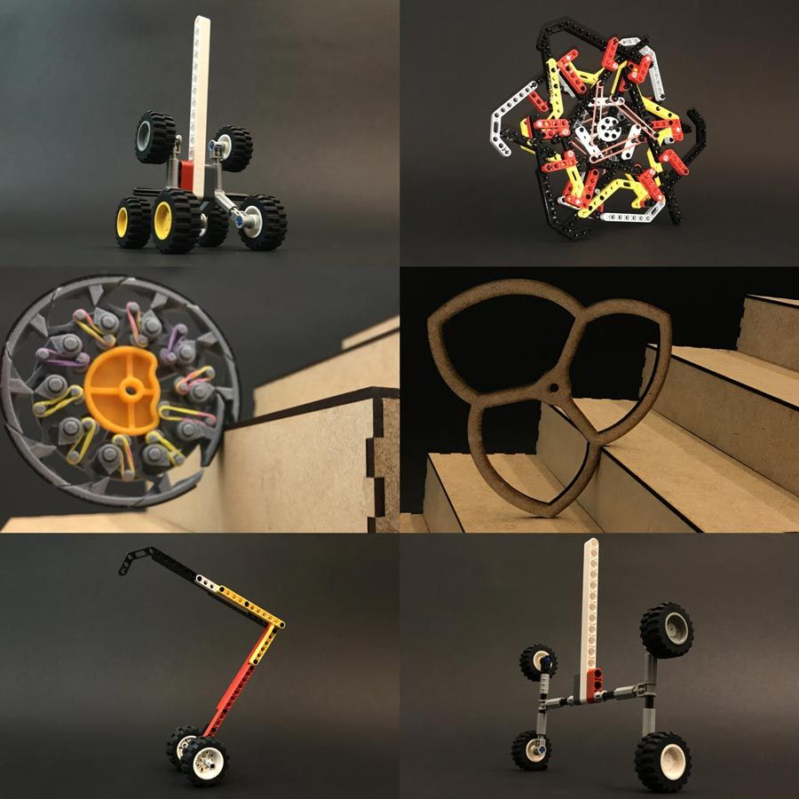 Six early physical concepts of robots that could scale stairs, showing models of wheels and legs built with cardboard or LEGO<sup>®</sup> blocks.