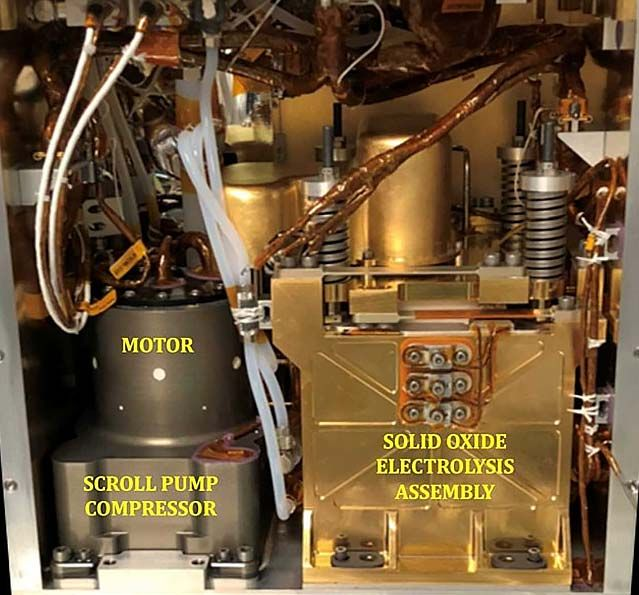 Interior view of MOXIE showing the motor and scroll pump compressor on the left and the SOXE assembly on the right.