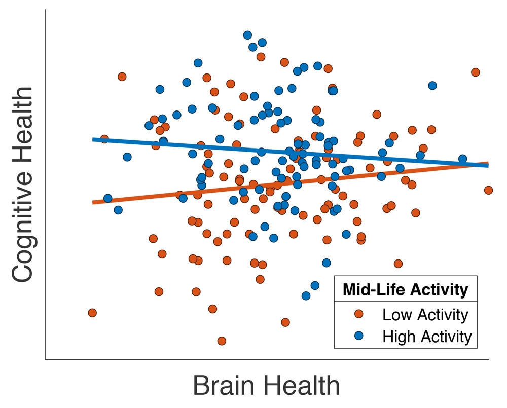"Figure 3. Plot showing the relationship between cognitive ability and a structural MRI measure of brain health (""total gray-matter volume"") in a subset of Cam-CAN participants over 65 years of age, adapted from Chan et al. (2018)."
