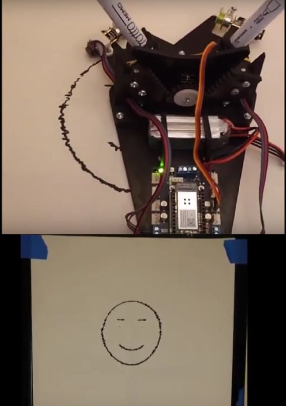Figure 3. Top: Robot in the process of drawing an image captured from a web cam. Bottom: The completed drawing (from Engr 415 Fall 2020).