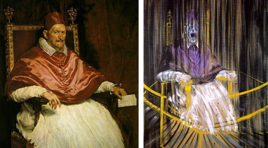 "Figure 1. Left: Diego Velázquez's ""Portrait of Pope Innocent X."" Right: Francis Bacon's ""Study After Velázquez's Portrait of Pope Innocent X."""