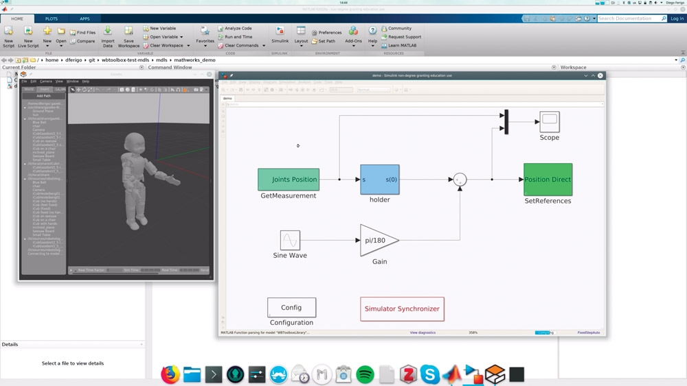 Figure 5. Cosimulating a simple control model in Simulink with a physical model of iCub in Gazebo.