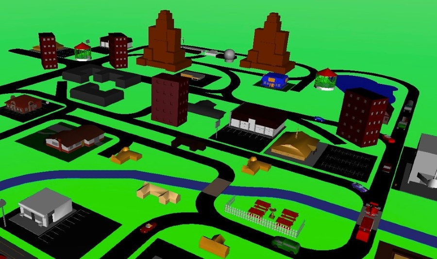Figure 5. A simulated driving scenario generated with Simulink 3D Animation.