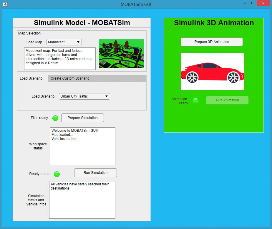 Figure 3. MOBATSim interface for configuring and initiating simulation runs, developed with MATLAB App Designer.