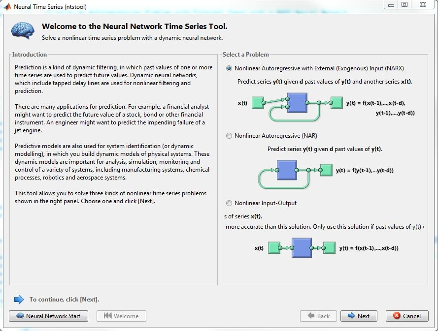 Figure 7. Training a NARX network using the Neural Time Series app.