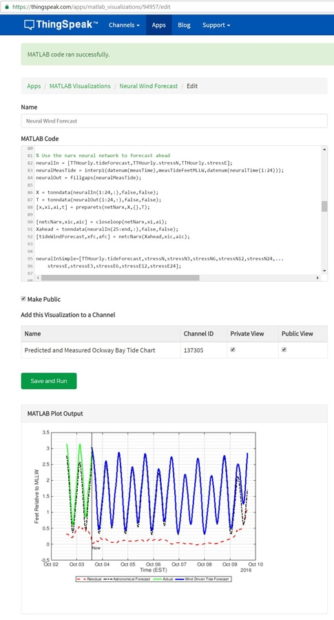 Figure 11. ThingSpeak MATLAB Visualization interface showing MATLAB code.