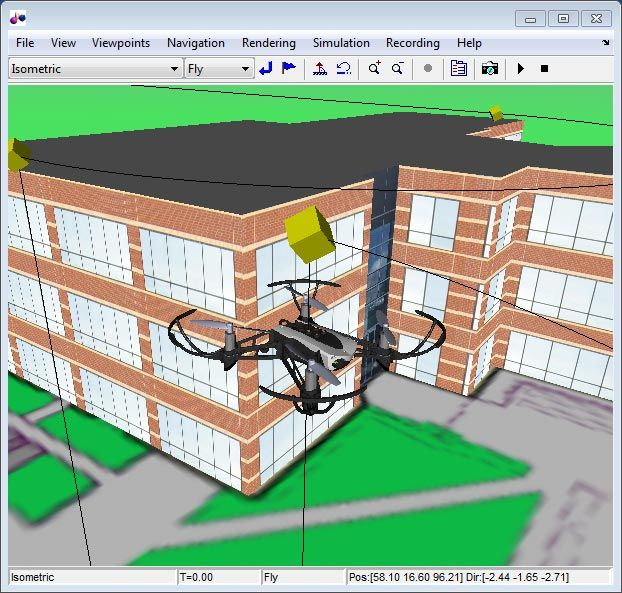 Figure 3. 3D visualization of Simulink quadcopter model