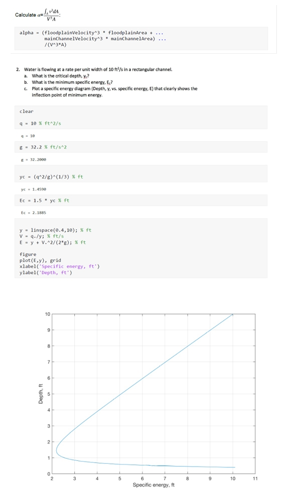 Figure 1. MATLAB live script, created by a student for a homework assignment. Top: Code calculating the kinetic energy correction coefficient α. Bottom: Plot of minimum specific energy for a rectangular channel.