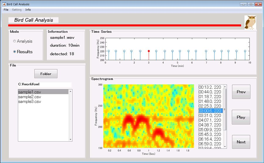 Figure 3. Interface developed in MATLAB for detecting, visualizing, and verifying Blakiston's fish owl calls.