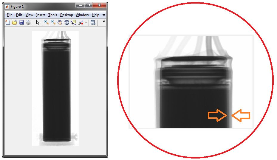 Figure 4.  A superposition of two battery projection images collected 180° apart.