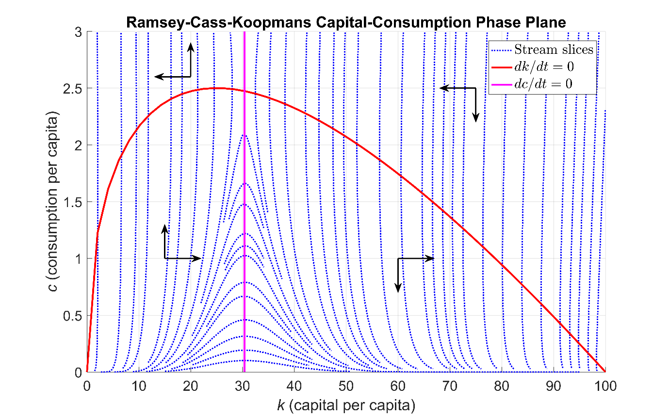 Figure 1: Phase portrait of the  Ramsey-Cass-Koopmans system of ordinary differential equations.