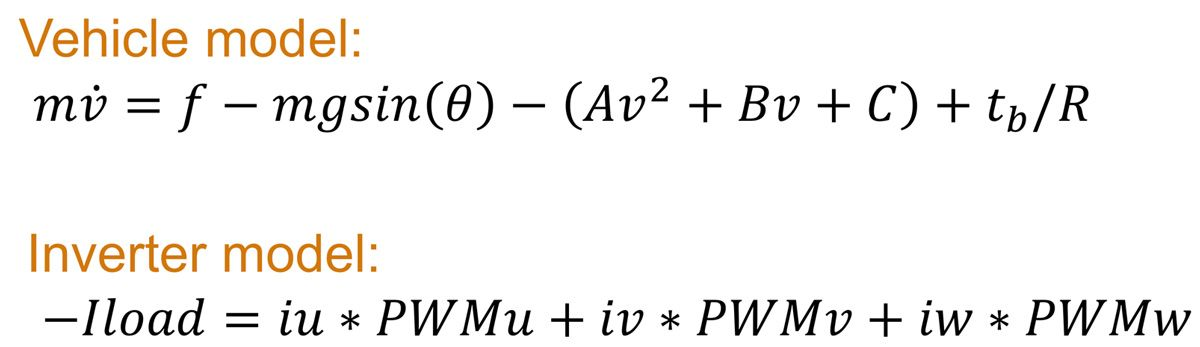 Figure 10. Mathematical equations used in the electrical vehicle model.