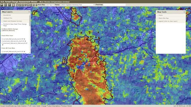 U.S. Forest Change Assessment Viewer map showing vegetation changes in Gatlinburg, Tennessee, following a 2016 fire.