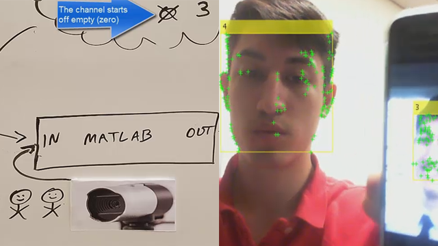 Utilize a USB webcam and Computer Vision System Toolbox™ to detect faces within a video feed. The ThingSpeak™ IoT platform is used to track the number of people by transferring data to the cloud.