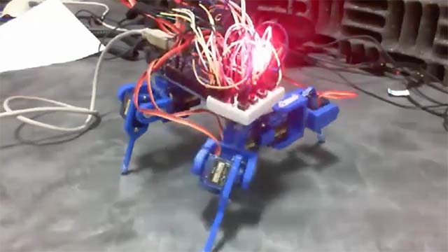 Utilize an Arduino® board, 3D printed parts, eight servo motors, and various other supporting hardware components to control a robotic spider.