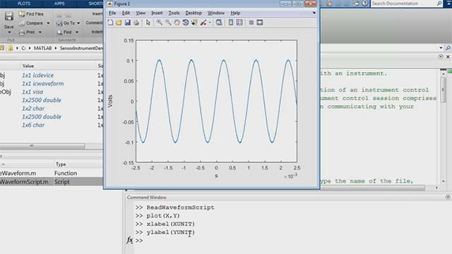 Connect and communicate with test instruments, then automatically generate MATLAB® code that can perform the same tasks in the future. This example shows these steps for reading oscilloscope data into MATLAB.