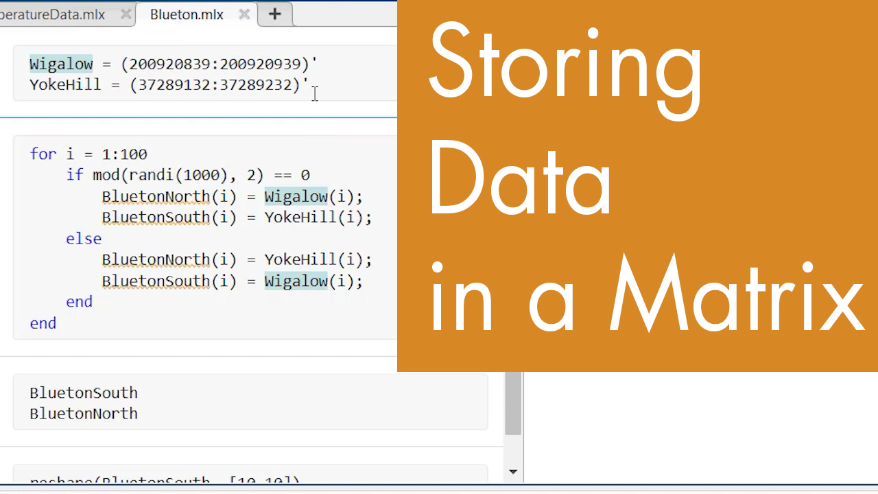 Storing Data in a Matrix from a Loop   Video   MATLAB