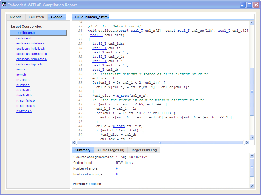 Best Practices for a MATLAB to C Workflow Using Real-Time Workshop ...