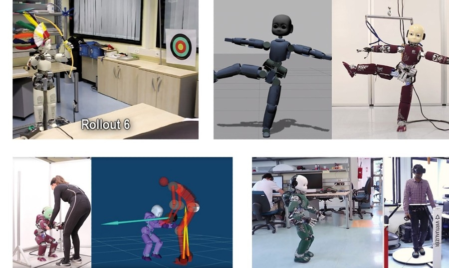 Figure 1.  iCub shooting arrows, striking a yoga pose, walking while controlled via teleoperation, and working with a human to stand up.