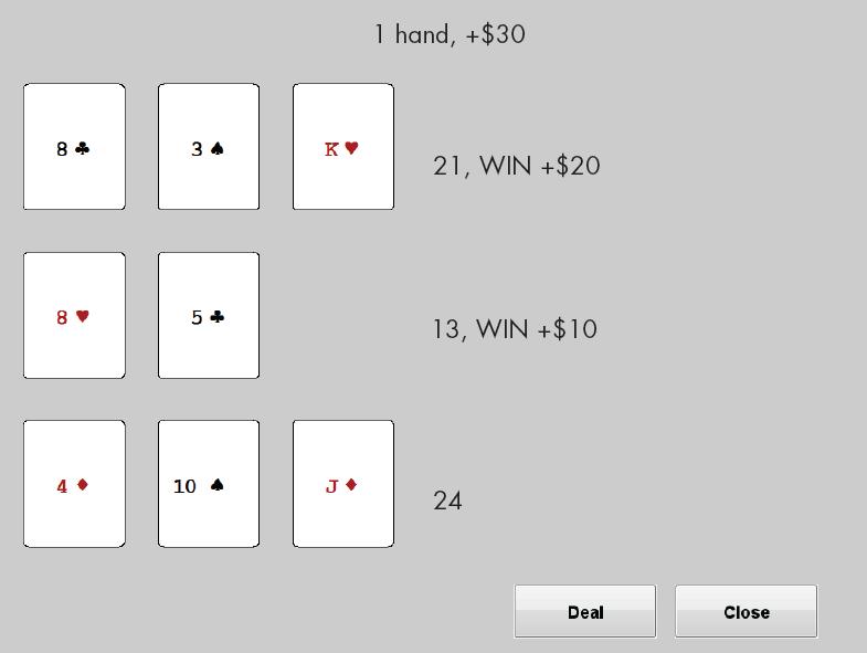 Blackjack card game rules not 21