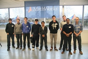 Winning teams from the MathWorks Student Robot Challenge with Sham Ahmed, managing director of MathWorks UK