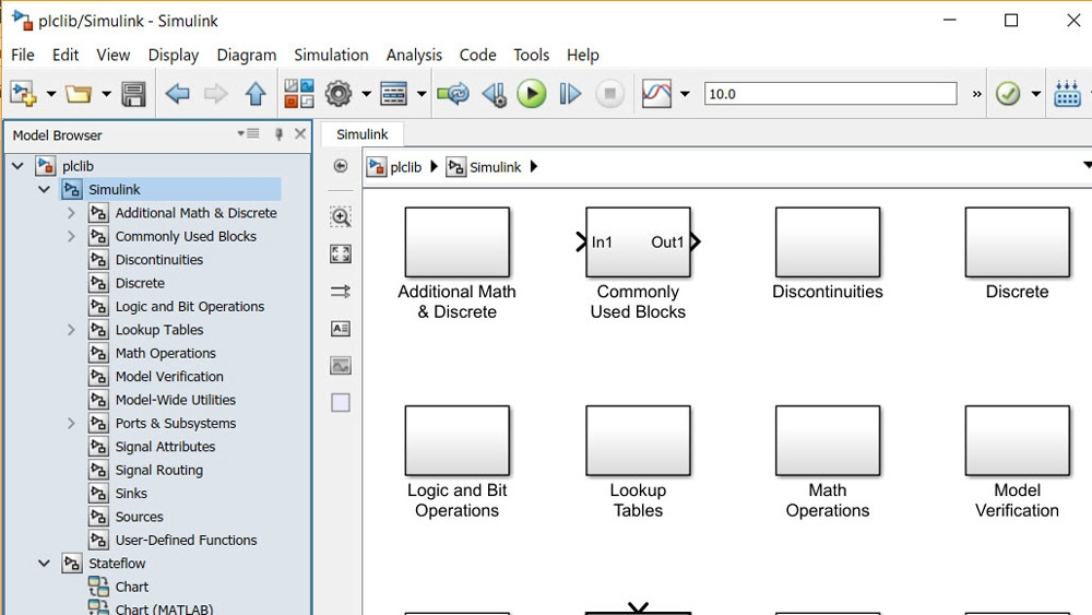 More than 180 Simulink blocks, all Stateflow constructs, and many MATLAB functions are supported by Simulink PLC Coder.
