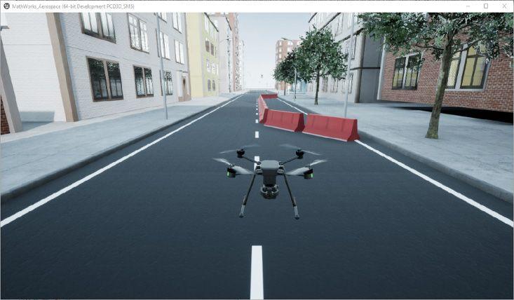 Figure 2: High-fidelity drone simulation using Simulation 3D Scene Configuration block