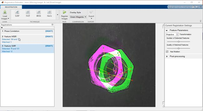 Registration Estimator app aligning a pair of images of hex bolts in different orientations.
