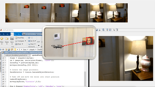 Learn how to use a Ryze Tello drone as a mobile person counter. The video explains how MATLAB code is used to make a person counter including takeoff, rotating, flipping, and landing.