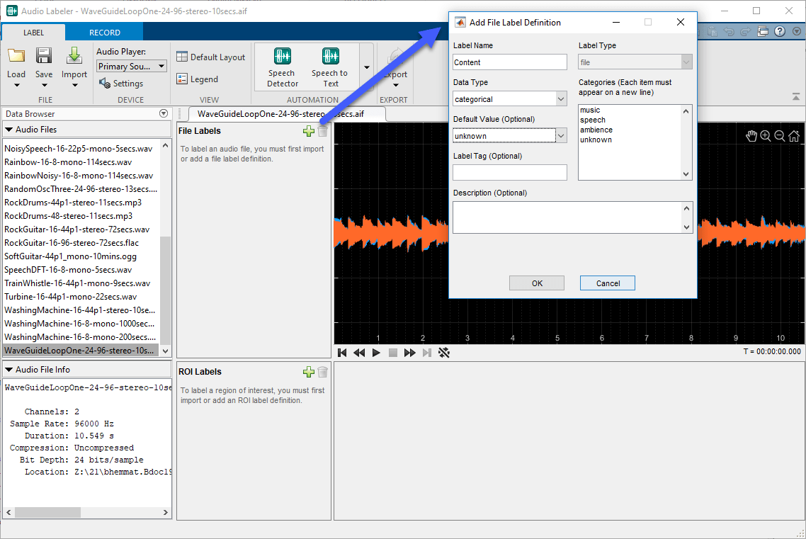 Label Audio Using Audio Labeler - MATLAB & Simulink