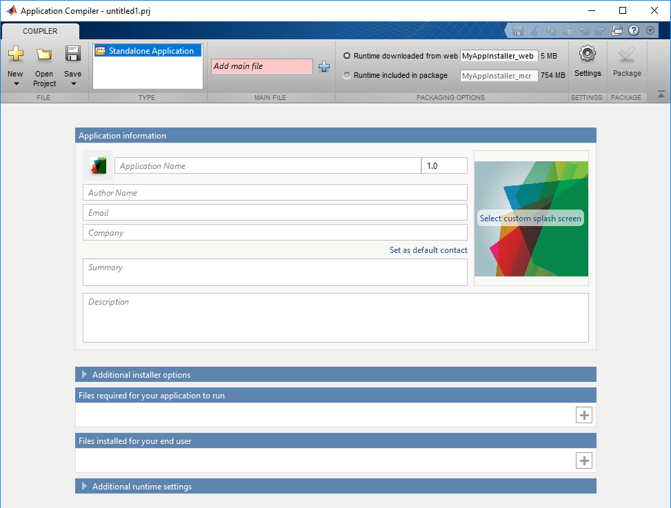 Package MATLAB programs for deployment as standalone applications