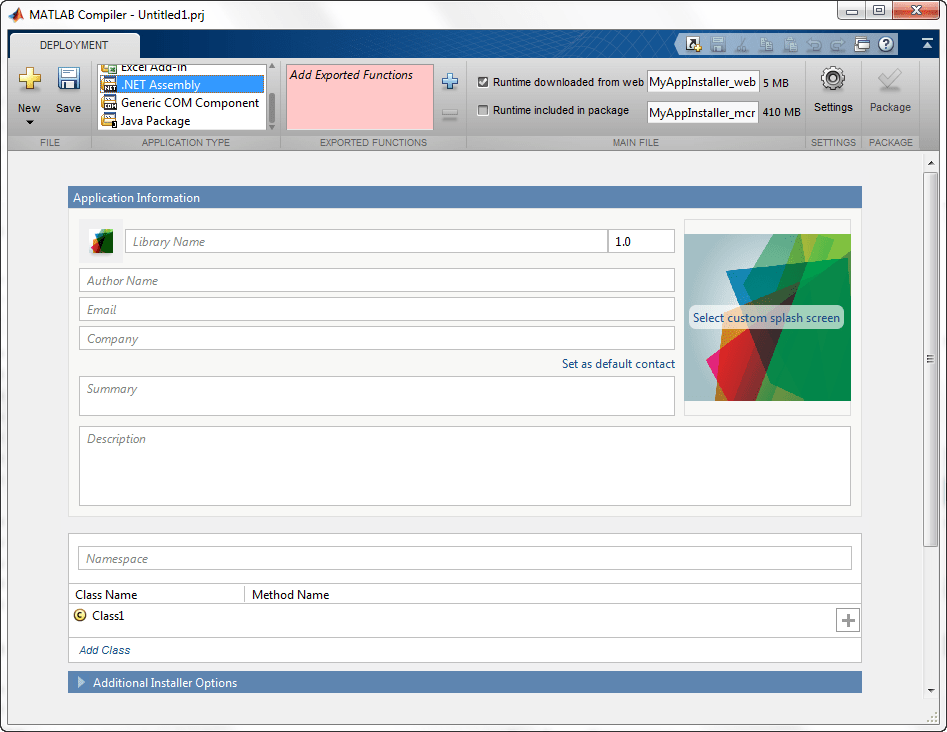 Package MATLAB programs for deployment as shared libraries