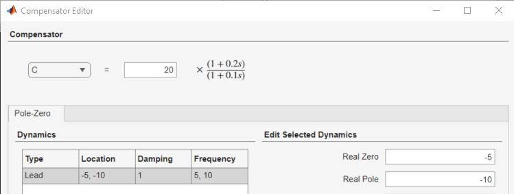Edit Compensator Dynamics - MATLAB & Simulink
