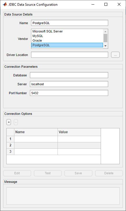 PostgreSQL JDBC for Windows - MATLAB & Simulink
