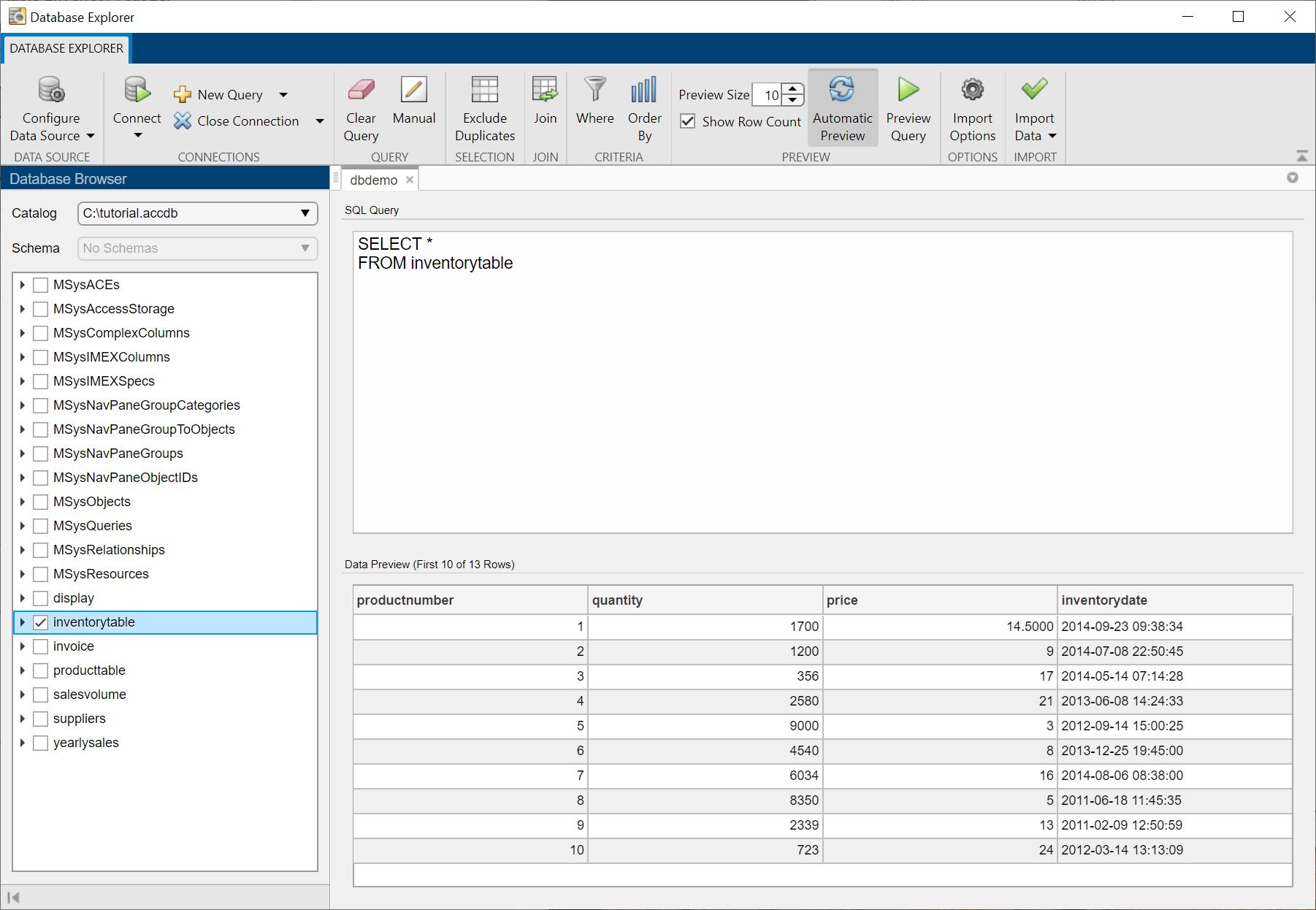 Data Preview Using Database Explorer App - MATLAB & Simulink