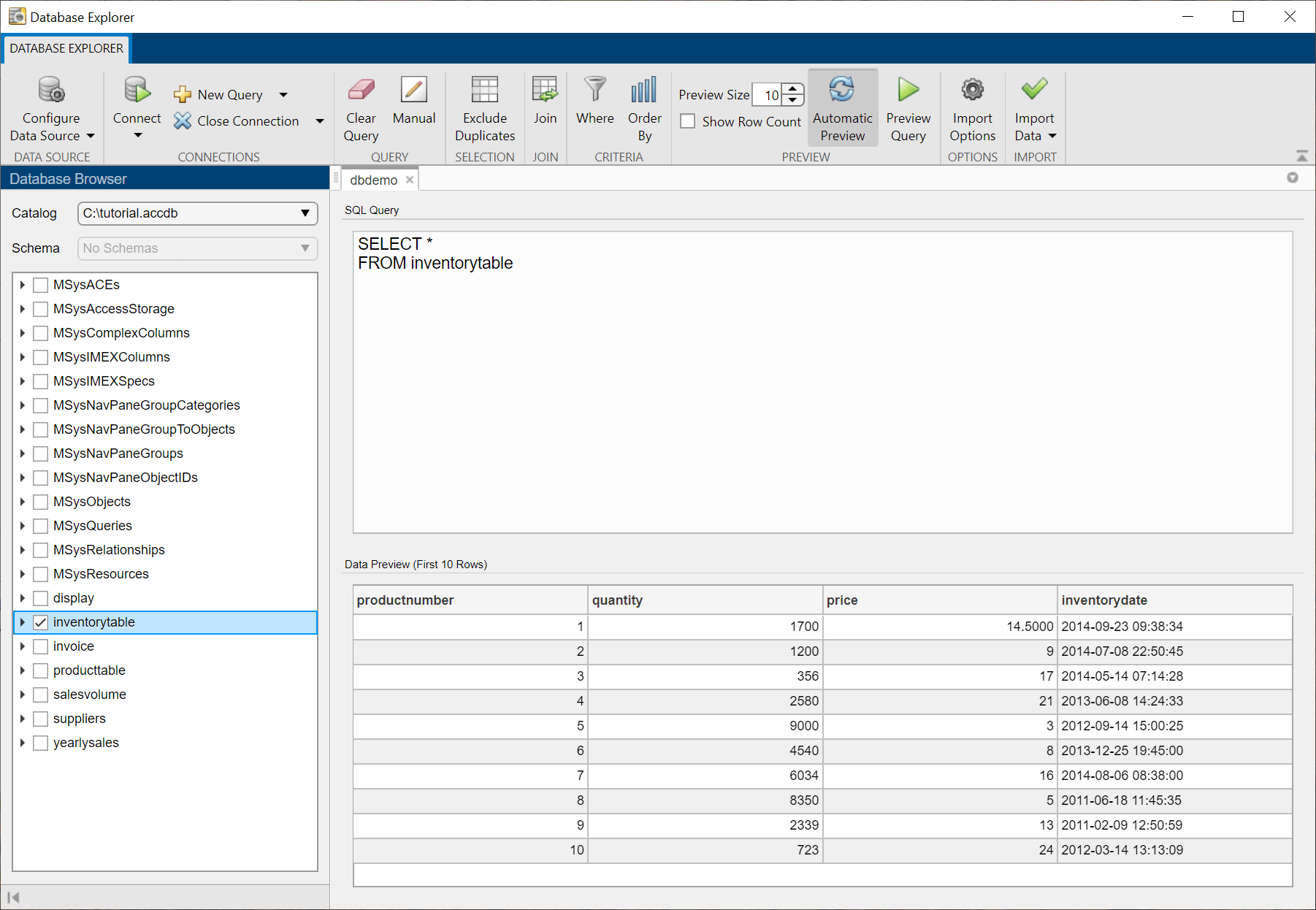 Configure, explore, and import database data - MATLAB