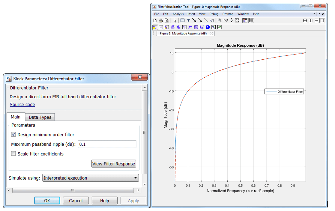 Direct form FIR fullband differentiator filter - Simulink