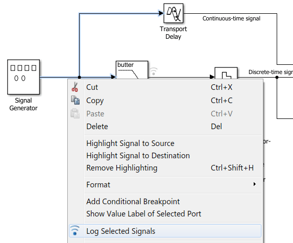right-click a signal in your model to open an options dialog box  select  the log selected signals option