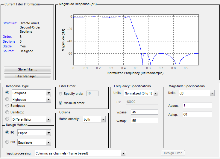 Use Filter Designer With Dsp System Toolbox Software Matlab Simulink