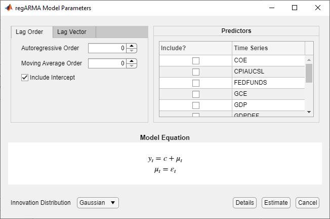 Create Regression Models with ARIMA Errors - MATLAB & Simulink