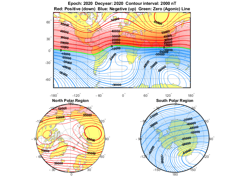 Visualizing World Magnetic Model Contours for 2015 Epoch