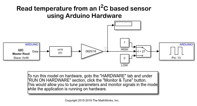 Read temperature from an I2C based sensor using Arduino