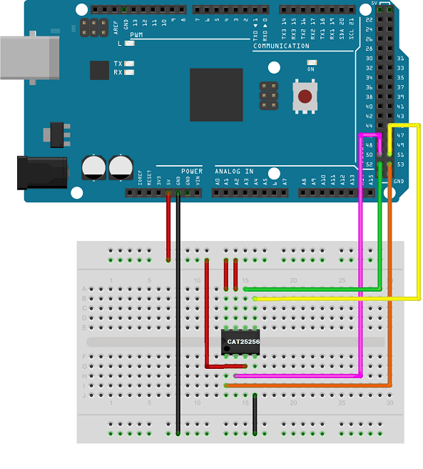 Communicating with an spi based eeprom using arduino