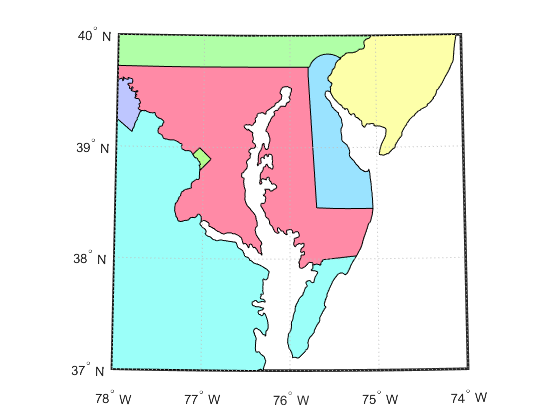 Create Simple Maps Using usamap - MATLAB & Simulink