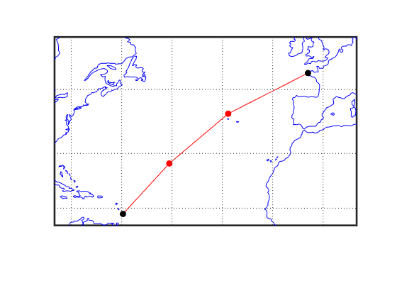 Equally spaced waypoints along great circle - MATLAB gcwaypts