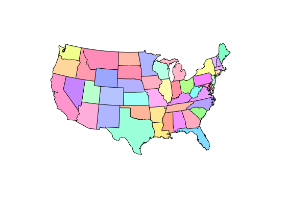 Construct Map Axes For United States Of America MATLAB Usamap - United states map with state names and abbreviations
