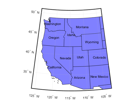 Construct map axes for United States of America - MATLAB usamap