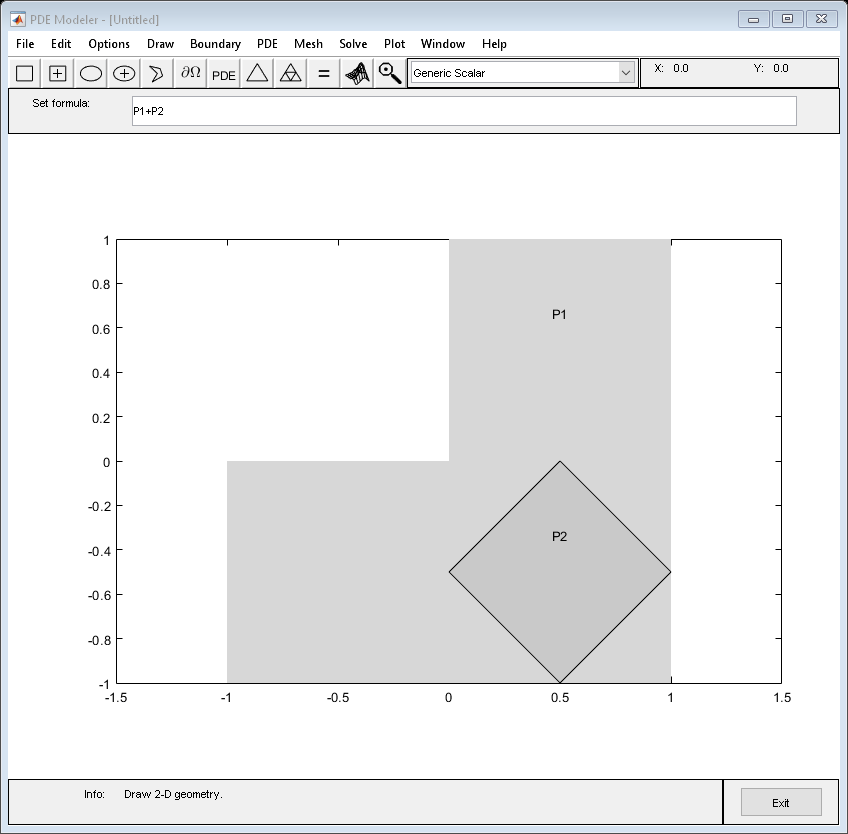 Draw polygon in PDE Modeler app - MATLAB pdepoly