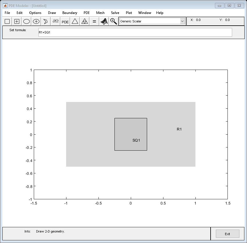 Draw rectangle in PDE Modeler app - MATLAB pderect