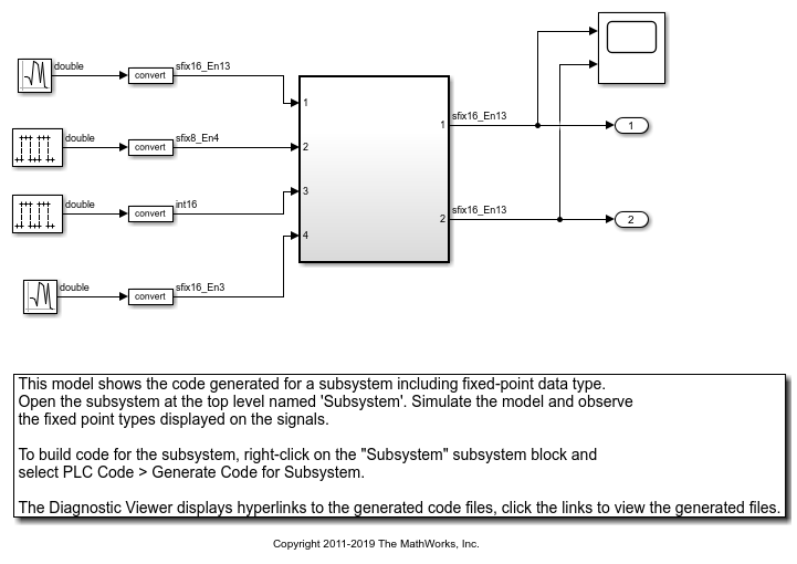 Generating Structured Text for Simulink Model with Fixed-Point Data